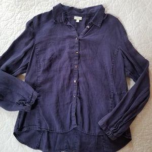J Jill blue button front blouse